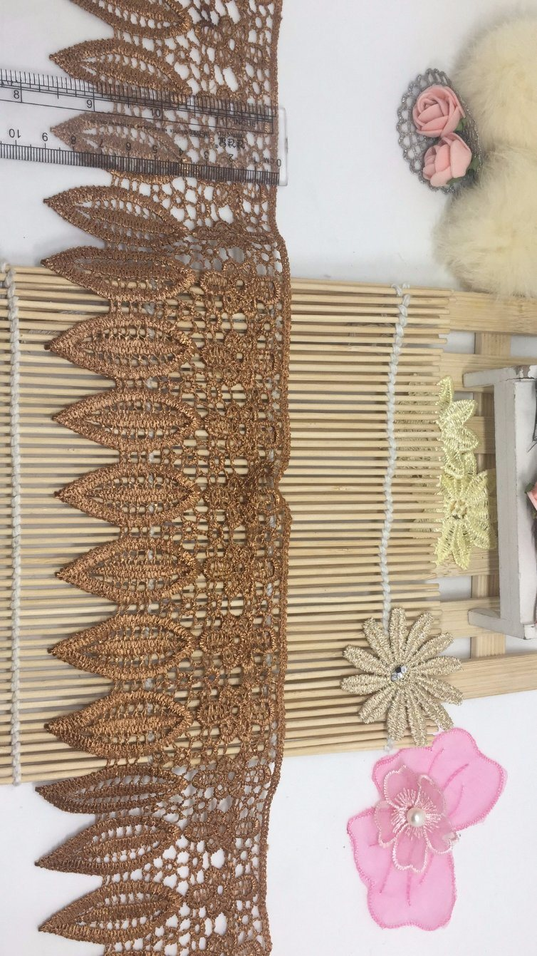 New Design 9cm Width Stock Willow Leaves Embroidery Trimming Polyester Lace for Dress Trim Accessory & Home Textiles & Mattress & Curtain