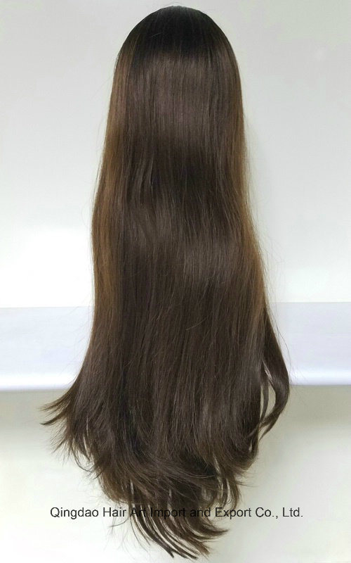 22′′ Style3 Mongolian Virgin Hair T-Color Silk Top Jewish Wig