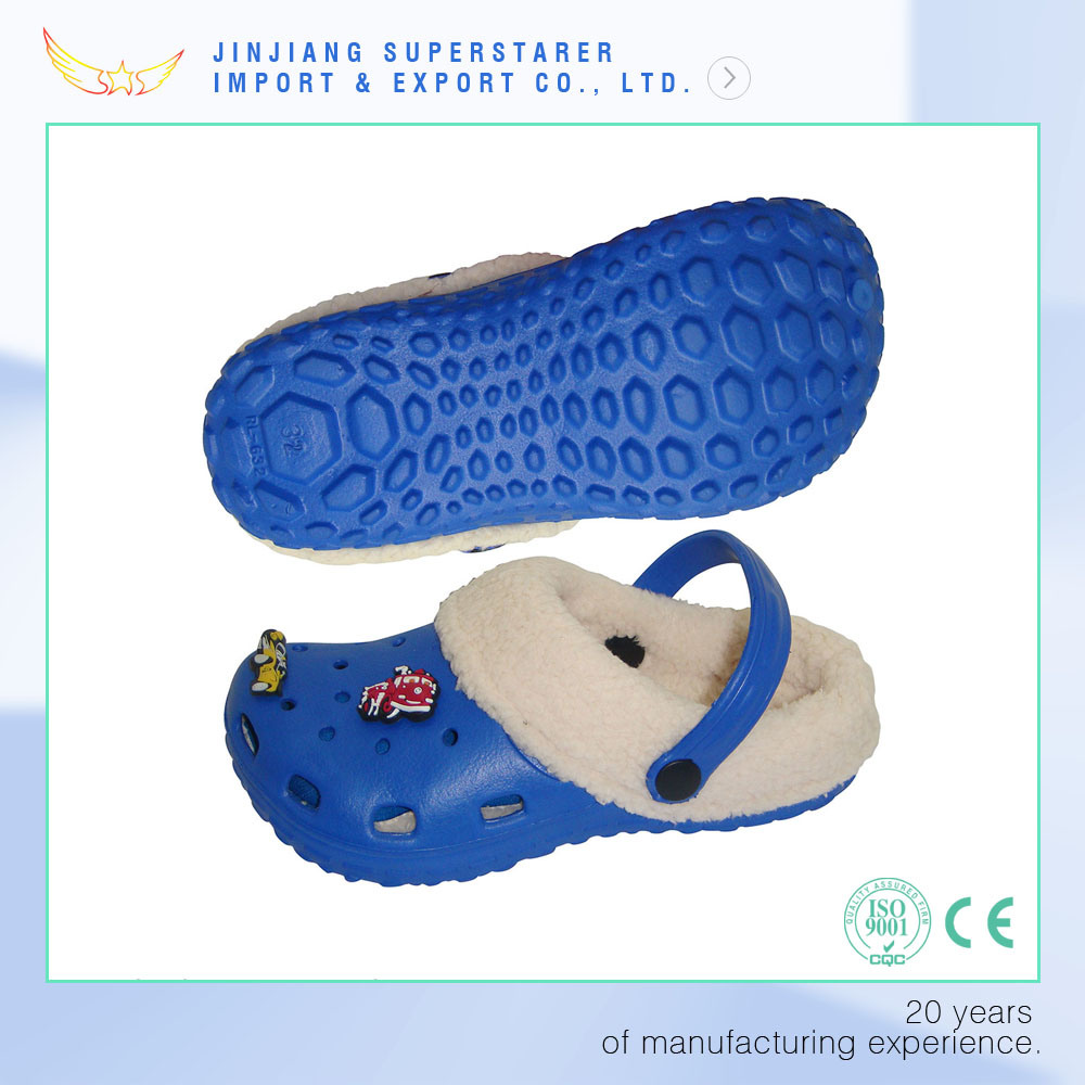 Winter Kids Children Holey Sandals Charms EVA Clog with Fur