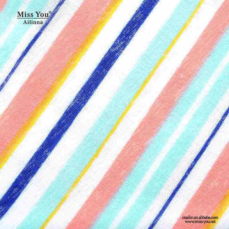 Miss You Ailinna 802030 Women Print Stripe Pattern Cotton Dress