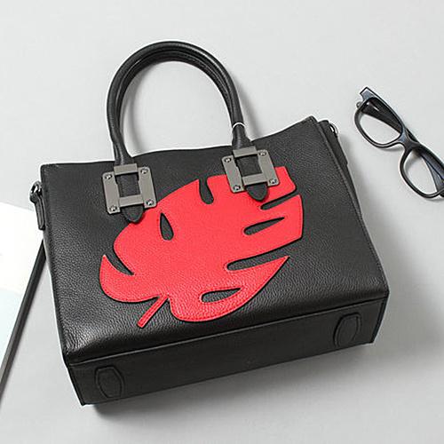 Genuine Leather Designer Ladies Handbag Lady Bag Soft Leather with Leaf Emg4884