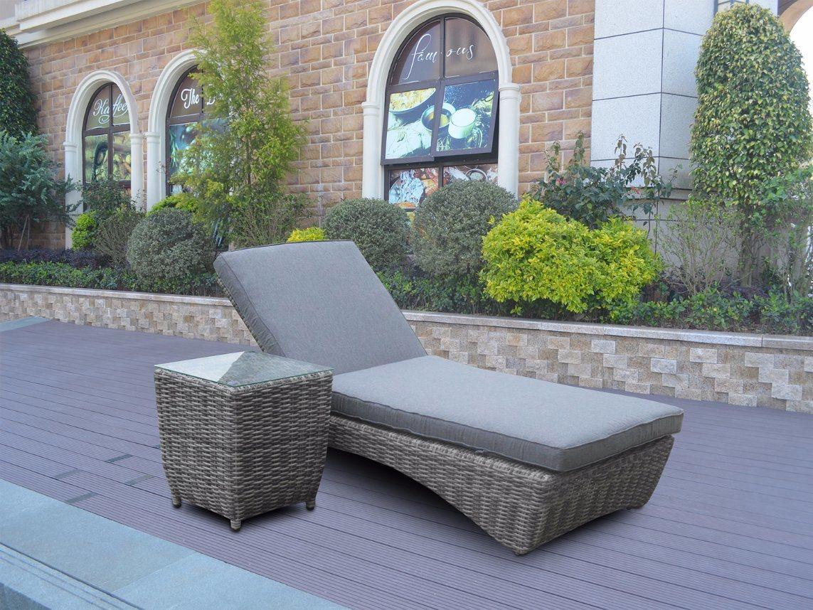 Patio Garden Half Round Lounge Home Hotel Office Buffalo Outdoor Sunbed (J6958)