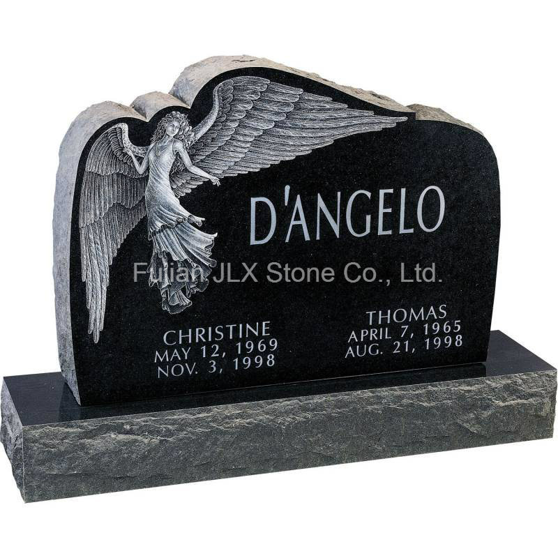 Black Granite Square Headstone with Angel Sculpture