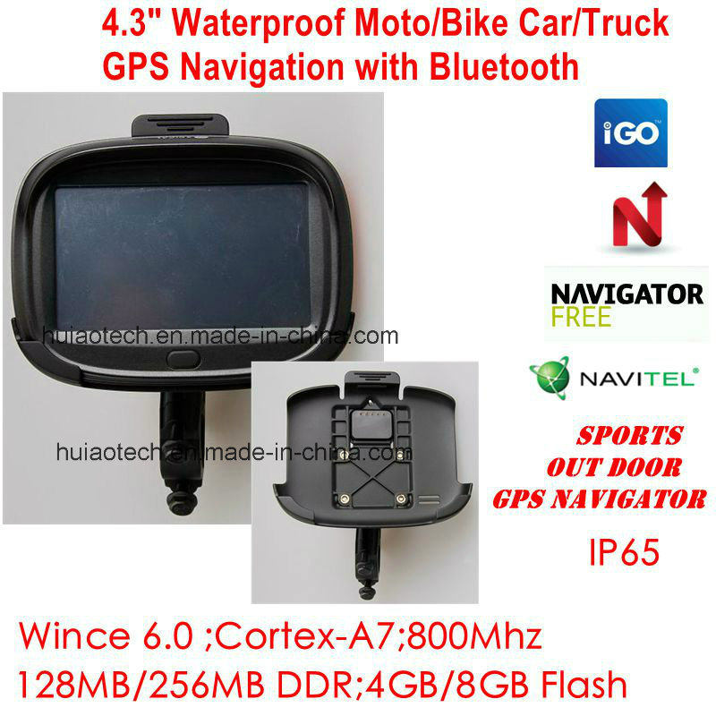 "New Factory Waterproof IP65 ID 4.3"" Motorcycle Bike Car GPS Navigator Built-in 66 Channel GPS Recevier Navigation,Wince 6.0, 800MHz Cortext-A7,Bluetooth,Sat Nav"