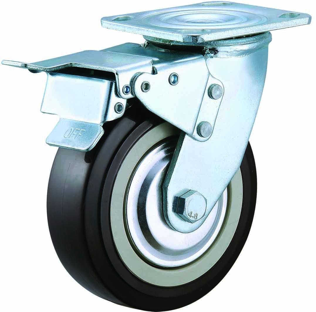 4/5/6/8 Inch Heavy Duty Black PU Castor Wheel Industrial Swivel PU Caster
