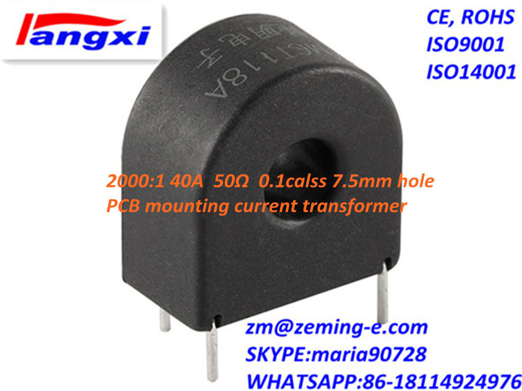 2000: 1 40A 50ohm 0.1class 7.5hole PCB Mounting Current Transformer Zmct118A