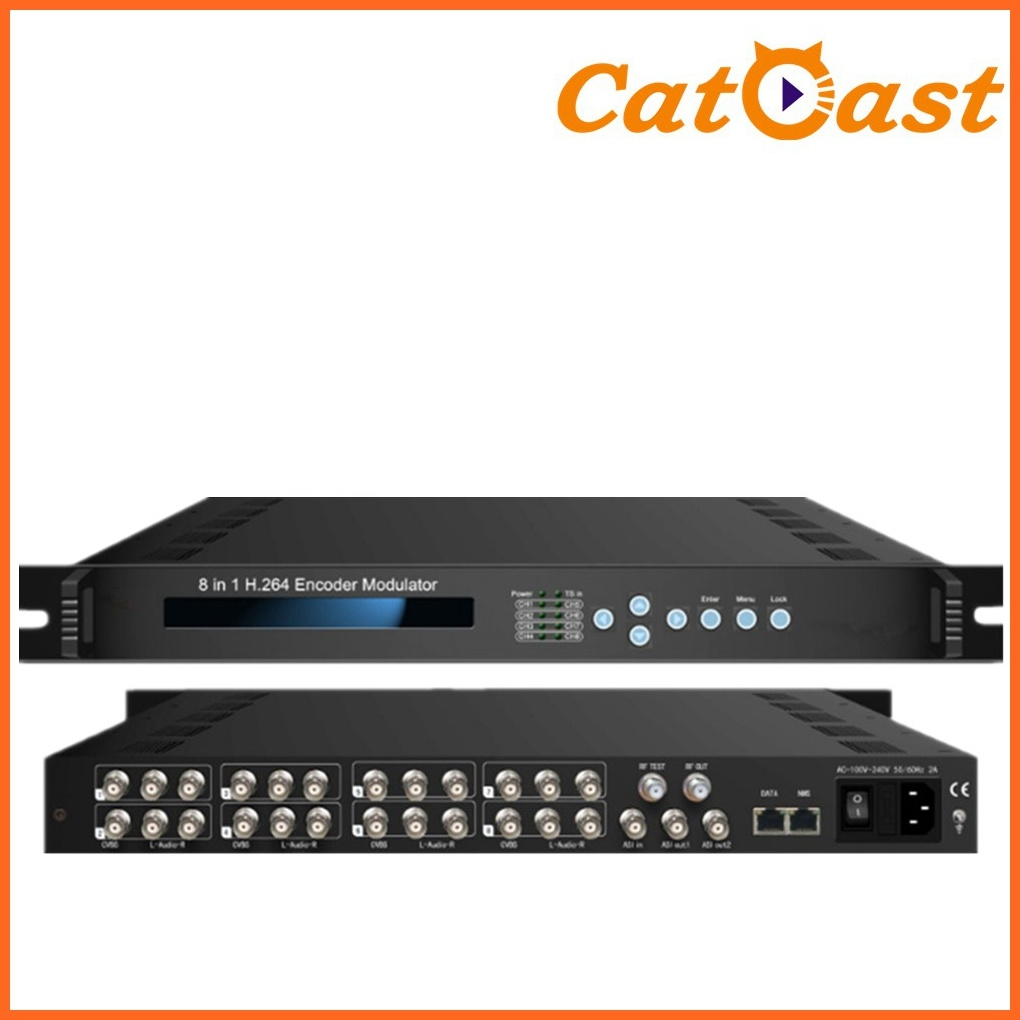 8 in 1 H. 264/MPEG-2 Encoder Modulator with DVB-C RF out