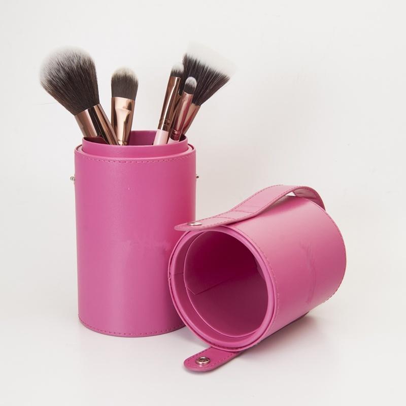 Rose Gold Ferrule Makeup Brush in Pink Brush Holder