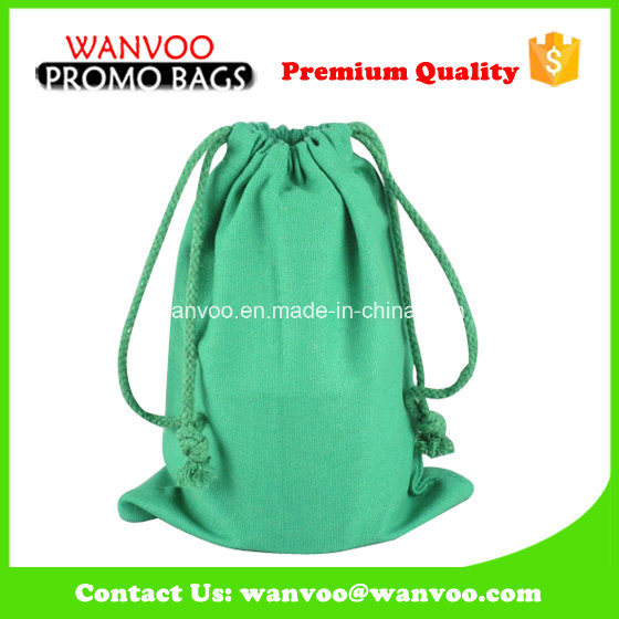 Green Reusable Colorful Phone Packing Cotton Drawstring Bag
