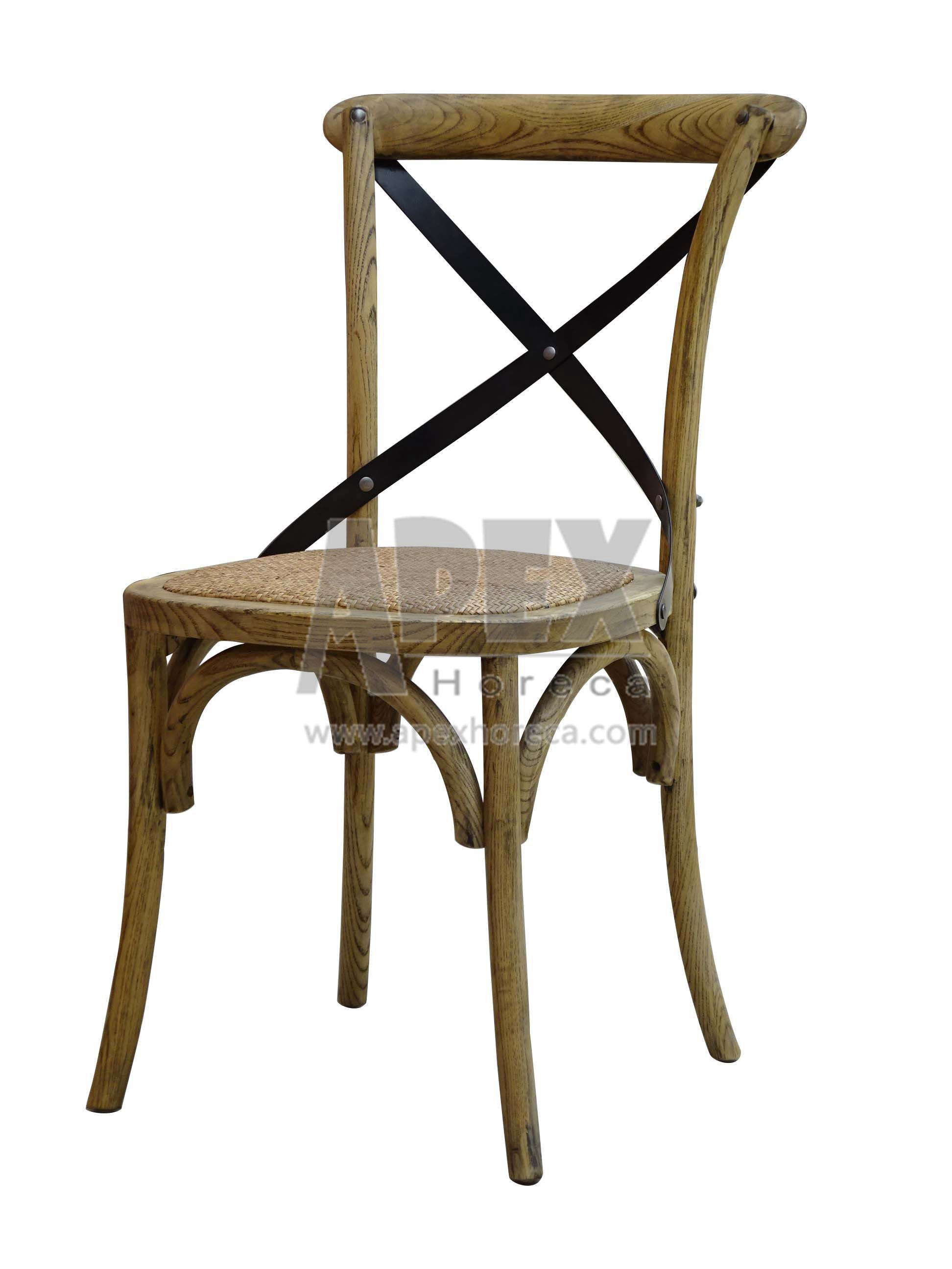 Cross Back Wood Chair Solid Wood Dining Stackable Chair