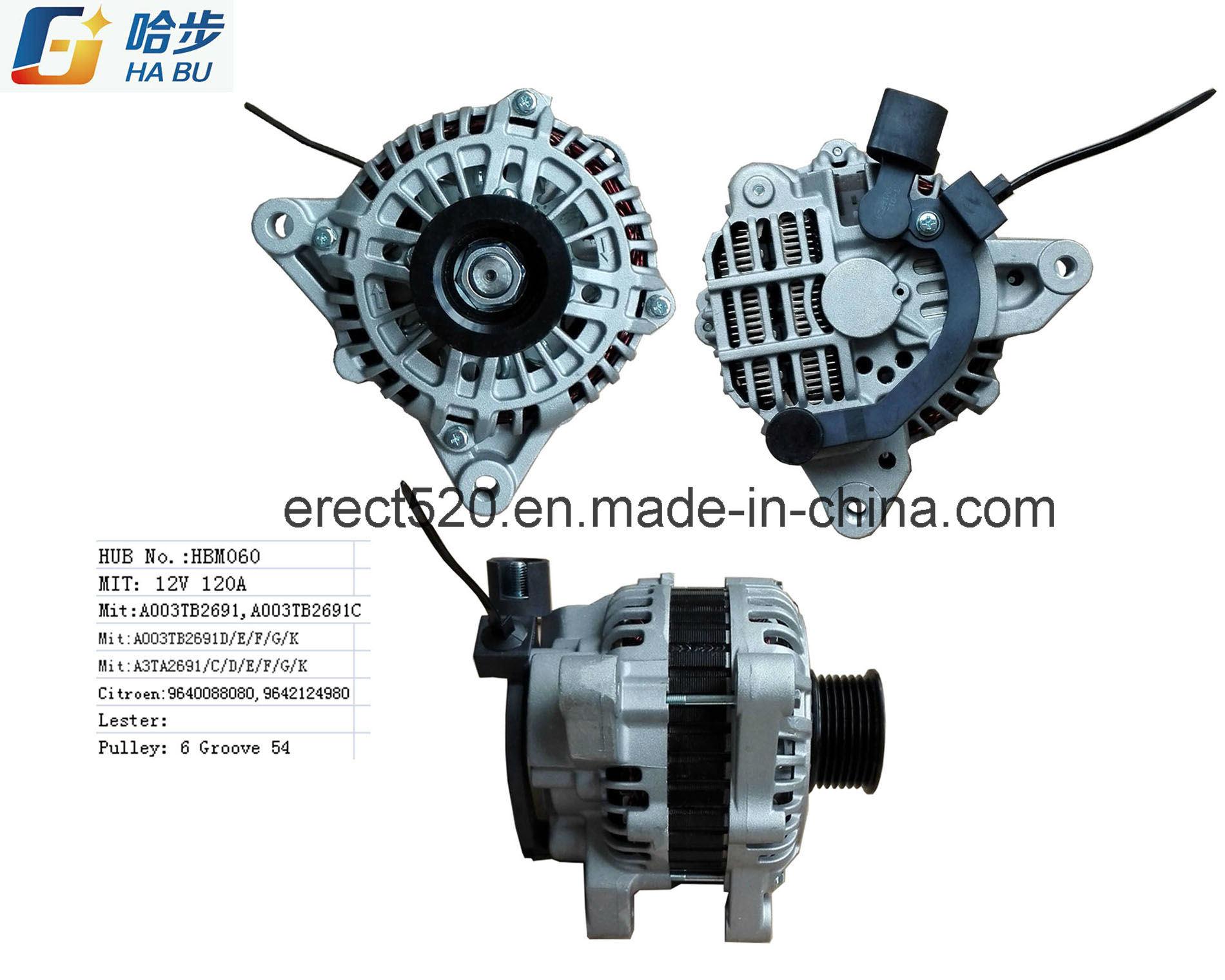 *12V 120A* Car Alternator for Citroen, Peugeot, A003tb2691c, A003tb2691d, A003tb2691e