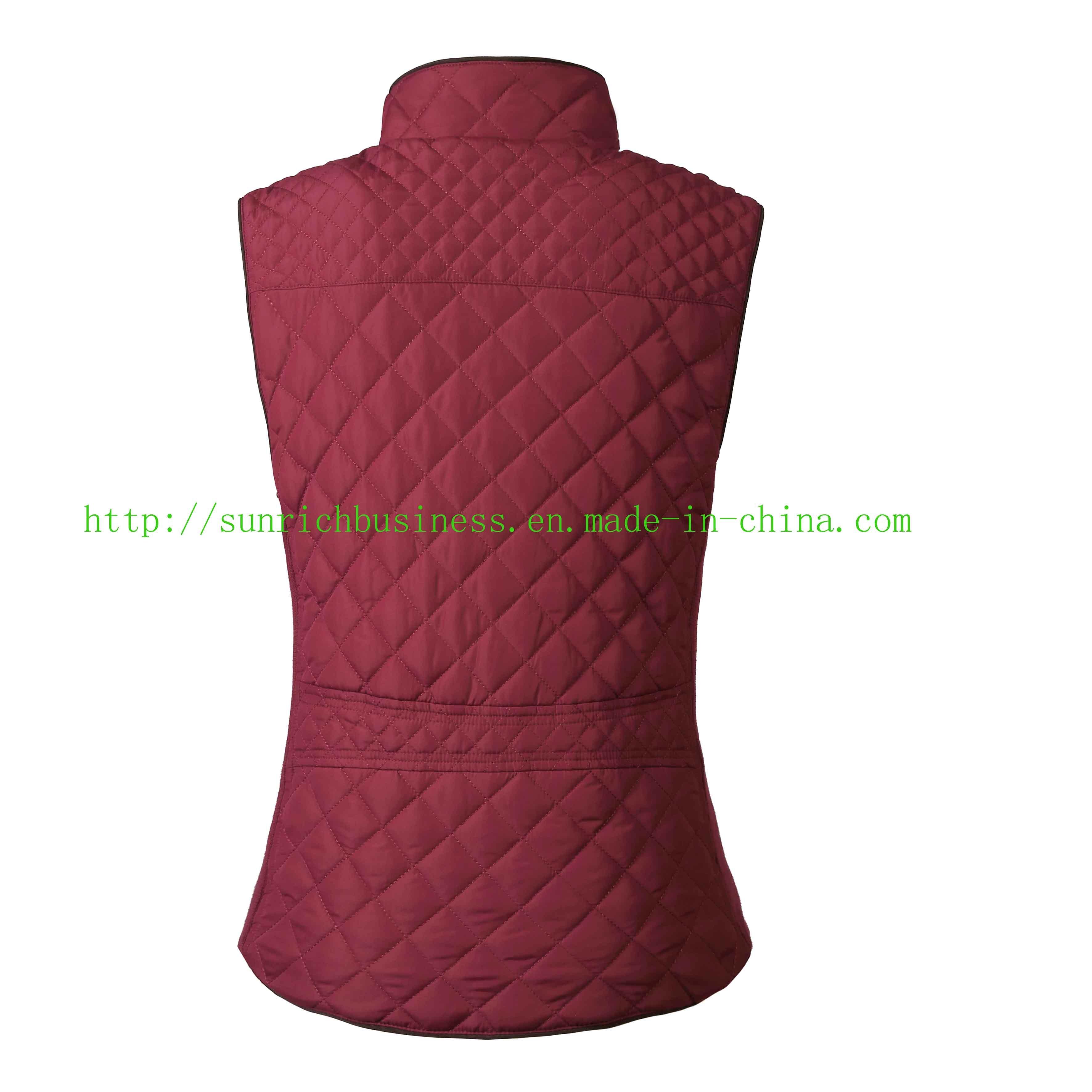 Women′s or Ladies Winter Qulited Padding Sleeveless Vest Jacket (FHL17003)