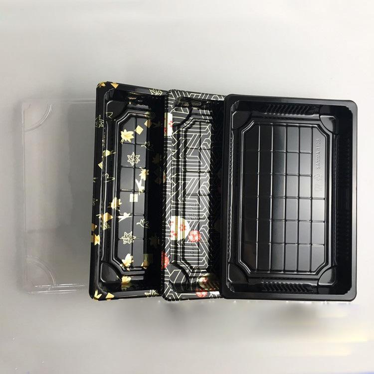 Disposable custom printed take away plastic sushi packaging box