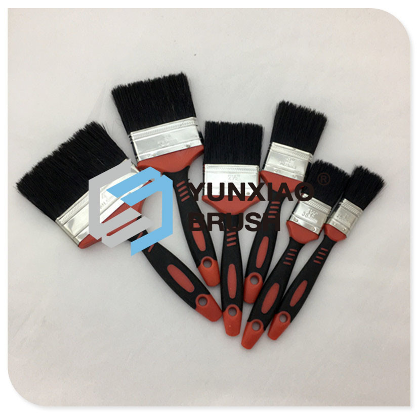 Black Bristle Paint Brush with Rubber Handle