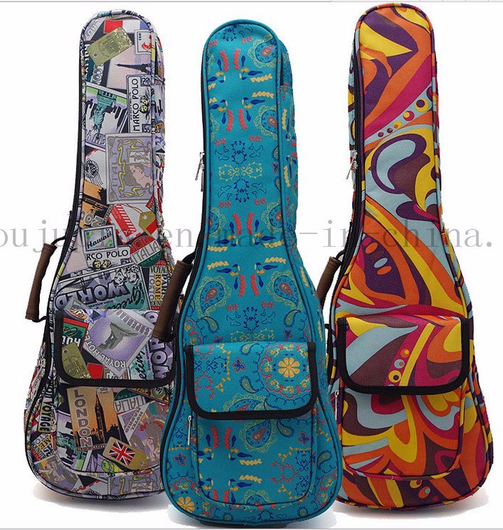 Custom Print Fashion Canvas Ukulele Guitar Bag Case for Promotion