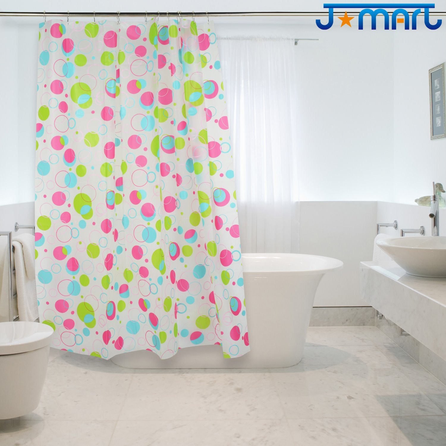 Colorful Dots Eco-Friendly PEVA Shower Curtain