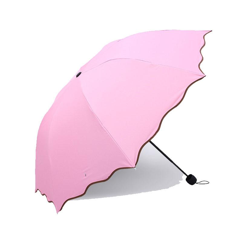 Quality Fashion Solid Color Mini Pocket Sized Pouch Umbrella 3 Fold