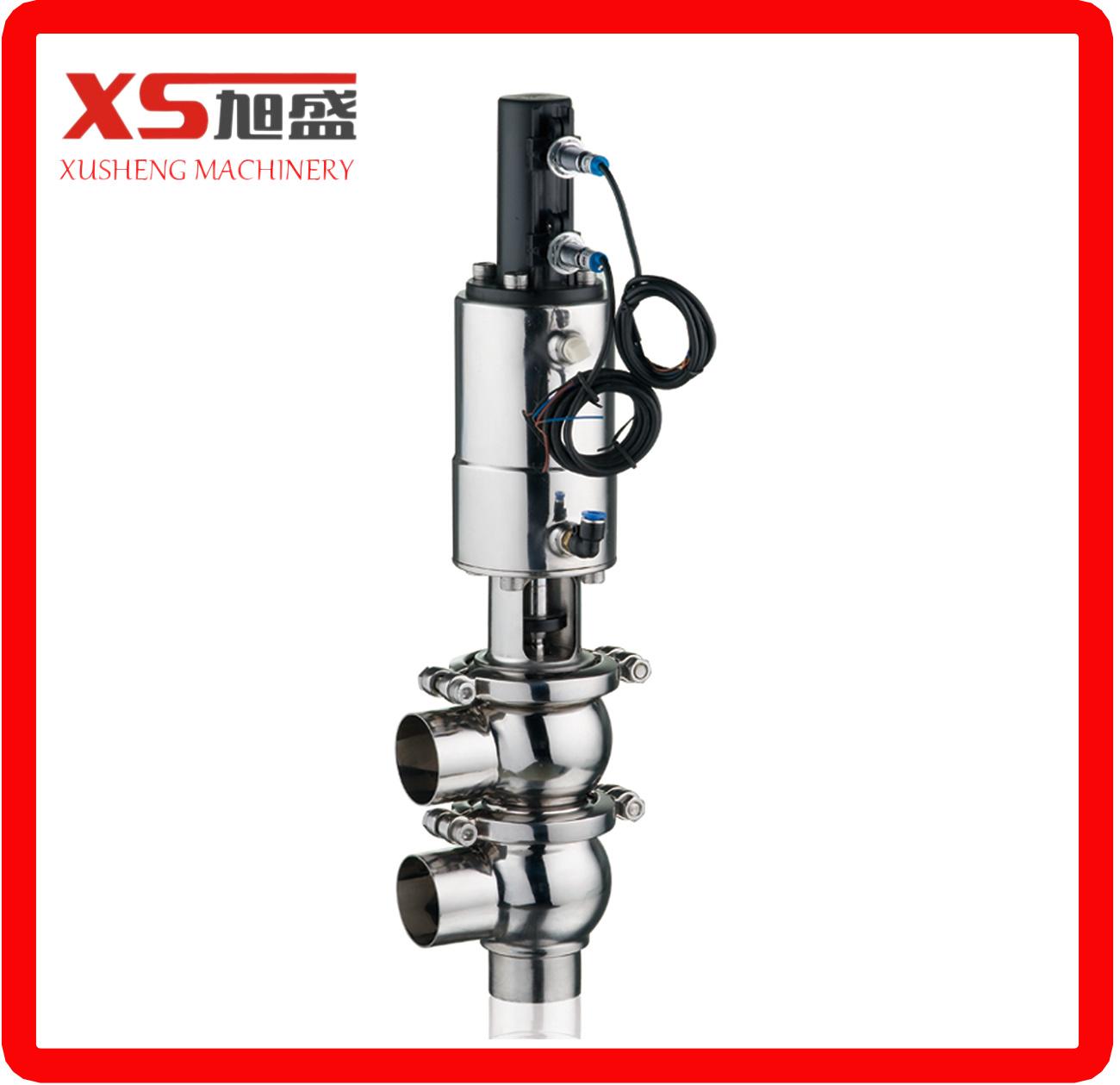 Sanitary Hygienic Stainless Steel Ss304 Ss316L Pneumatic Diverter Flow Valve