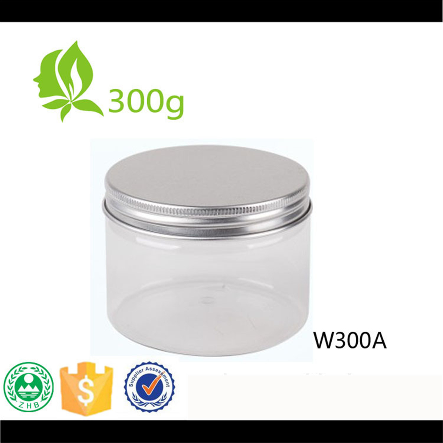 300ml Pet Wide Mouth Plastic Jar with Aluminium Lid