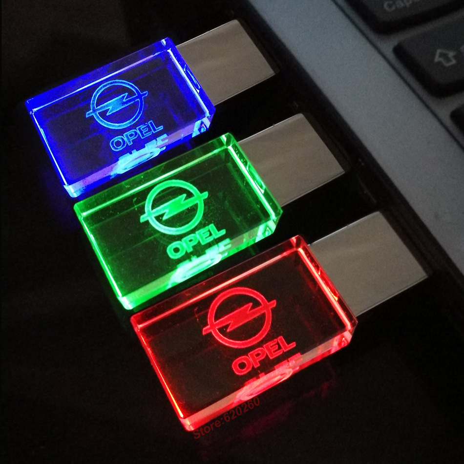 2017 Glass Crystal USB Flash Drive Opel /Nissan Car Logo 4GB 8GB 16GB 32GB USB 2.0 Flash Disk Stick Pen Drive with LED Light