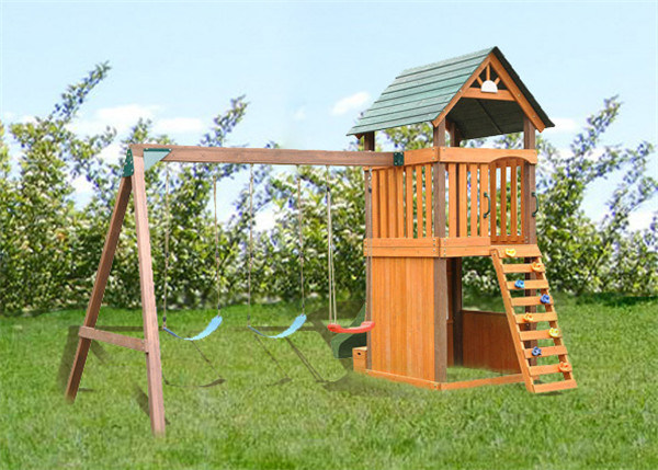 Kids Outdoor Playground Wooden Swing and Slite Set (06)