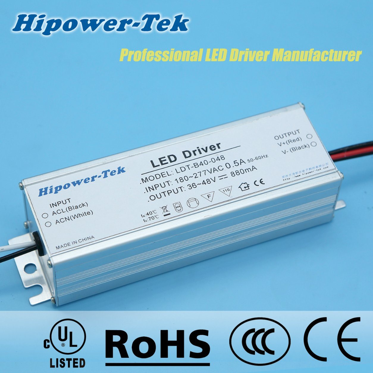180-277VAC 40W Constant Current Traic Dimming Power Supply LED Driver