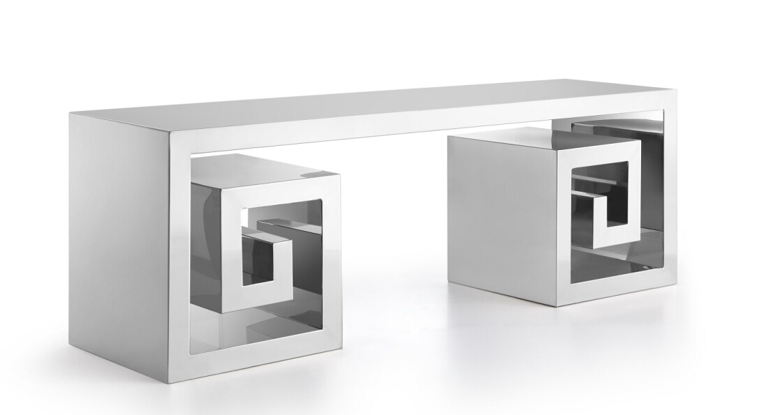 Nice Shape Stainless Steel Console Table, Shiny Stainless Steel TV Console Table T-106