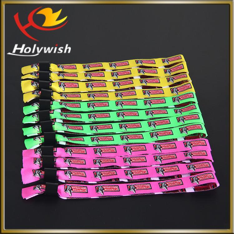 Polyester Material High Secure Fabric Bracelet Custom Festival Wristband