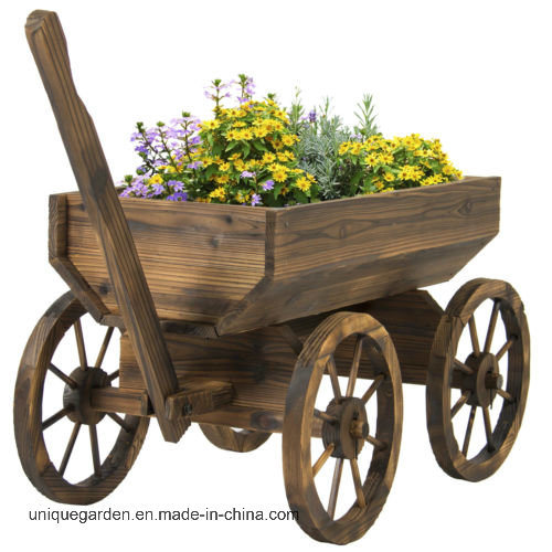 Garden Wood Wagon Flower Planter Pot Stand with Wheels