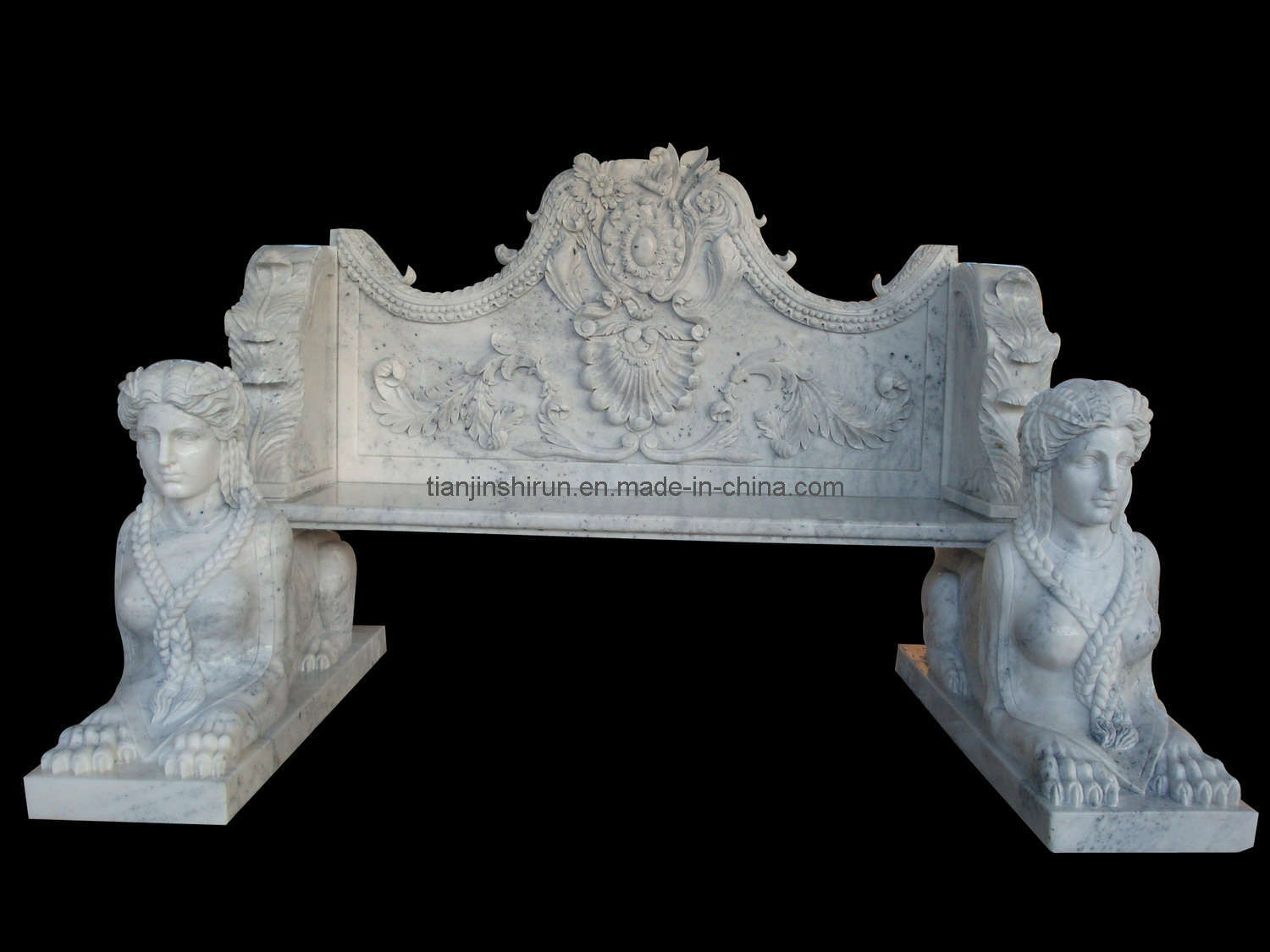 White Marble Carving Garden Bench (1207)