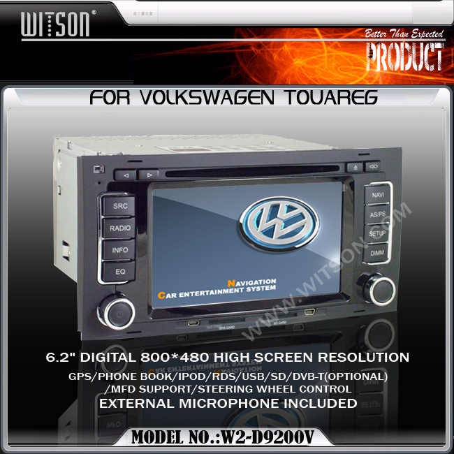 Witson Car DVD Player with GPS for Volkswagen Touareg (W2-D9200V)