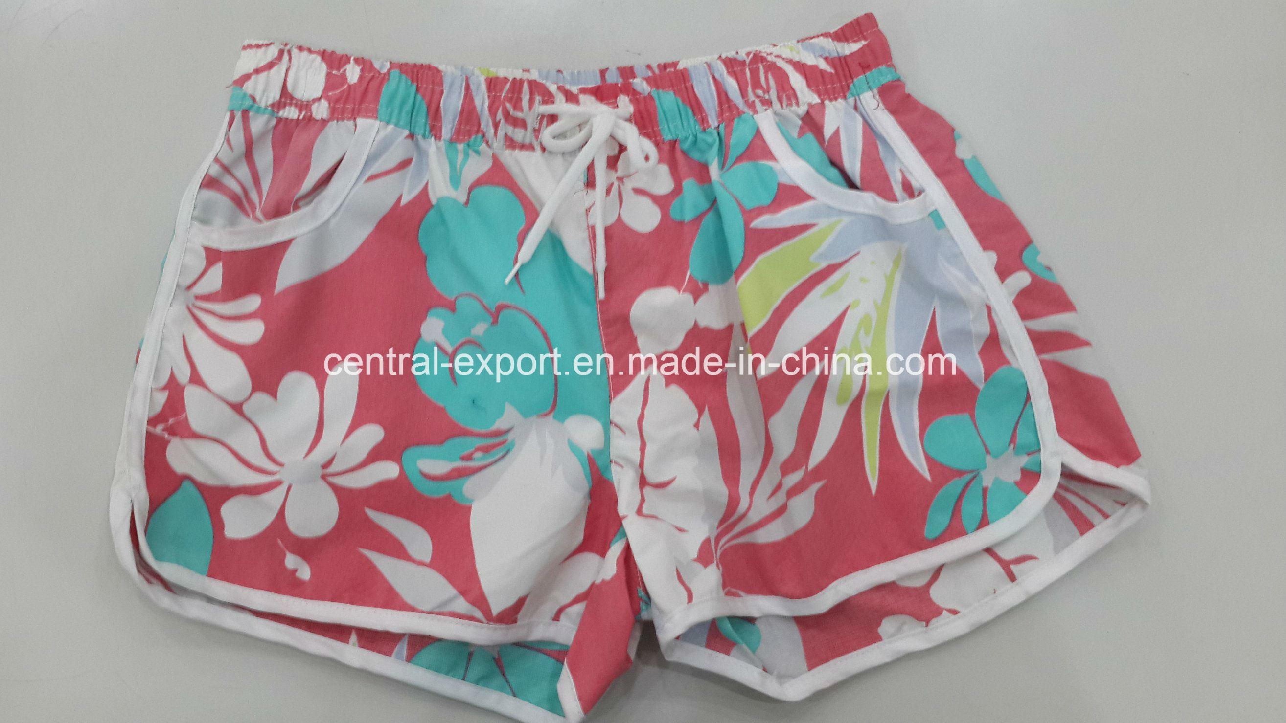 Oeko-Tex Flat Waist Polyester Patterned Lady Board Short Swimwear