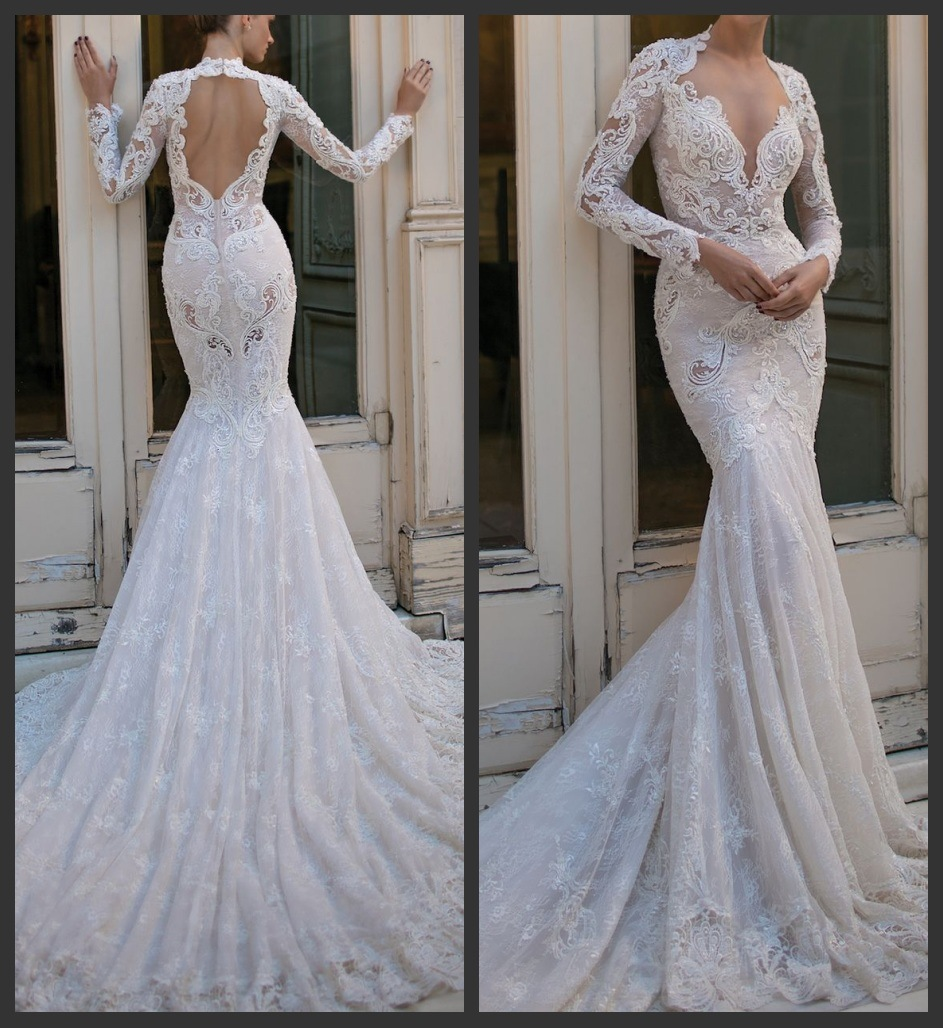 Long Sleeves Berta Bridal Gowns Mermaid Lace Beading Wedding Dress B16302