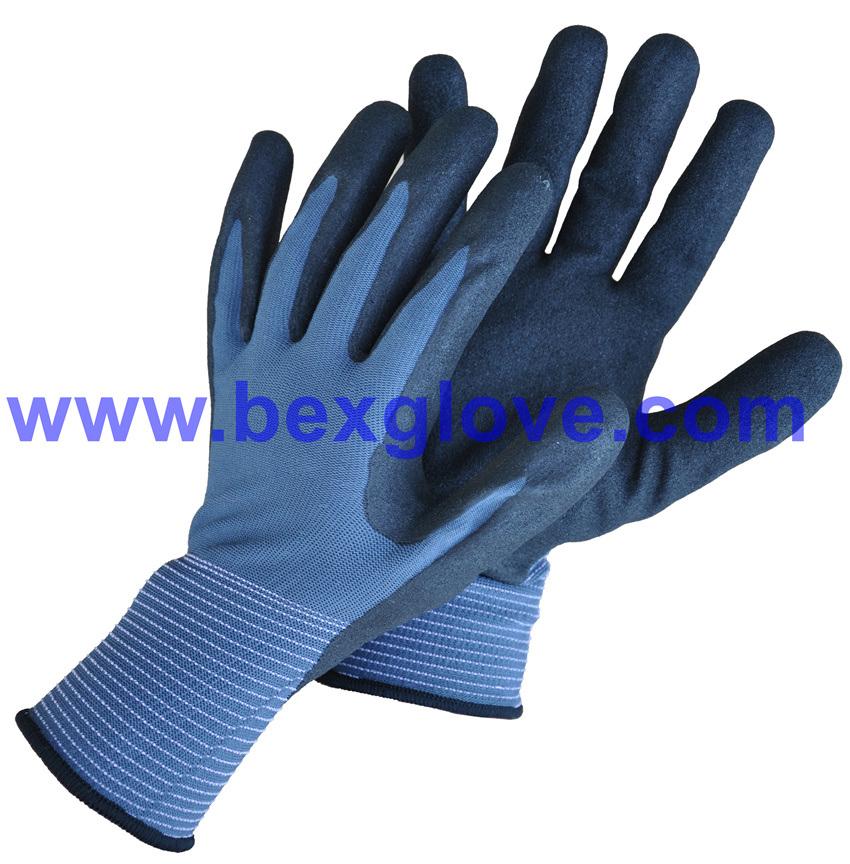 13 Gauge Nylon Liner, Nitrile Coating, Sandy Finish Safety Gloves