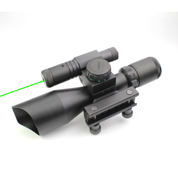 Compact 2.5-10X40 Riflescope Red Green Mil-DOT Reticle Attached Green Laser with Standard Weaver Rail Mount