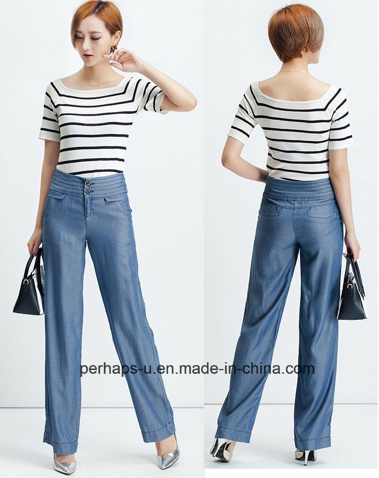 Attractive Ladies Palozzo Pants with Tencel Denim