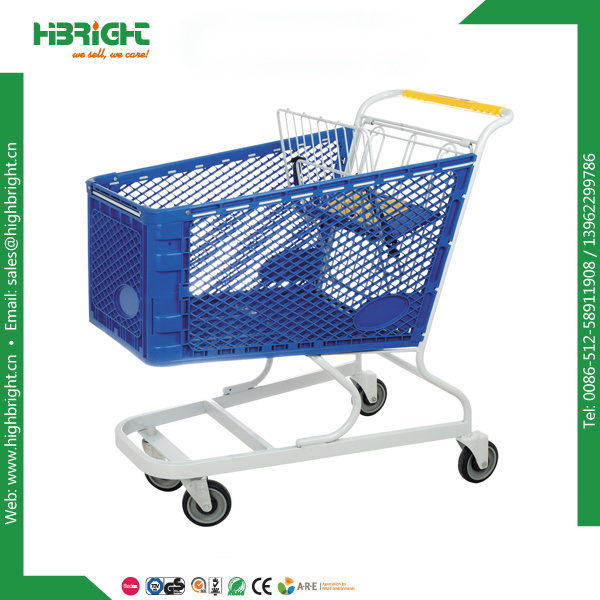 American Style Powder Coating Plastic Shopping Trolley Cart