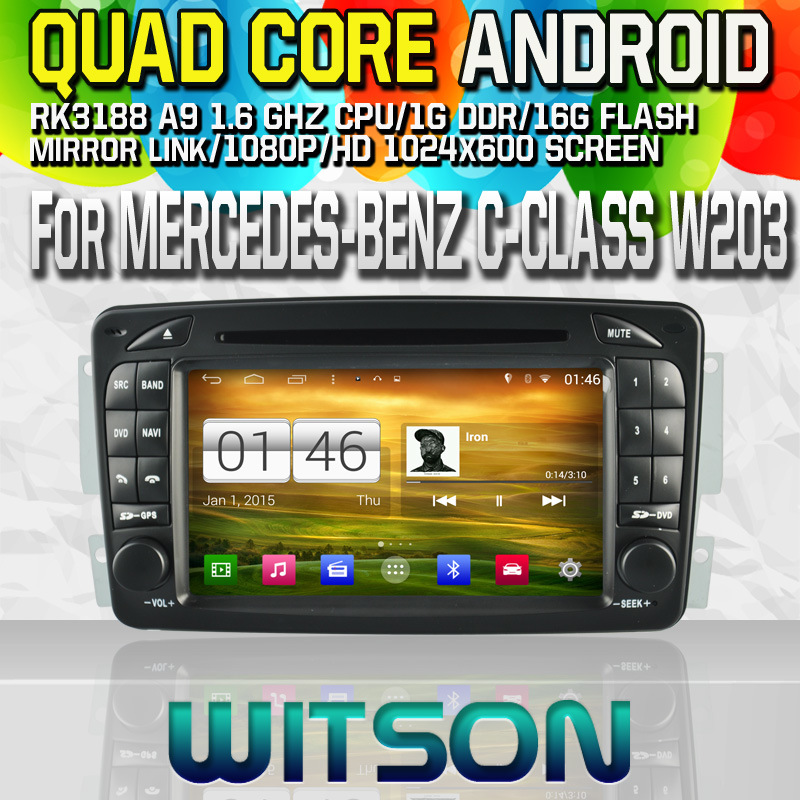 Witson S160 Car DVD GPS Player for Mercedes-Benz C-Class W203 with Rk3188 Quad Core HD 1024X600 Screen 16GB Flash 1080P WiFi 3G Front DVR DVB-T (W2-M171)