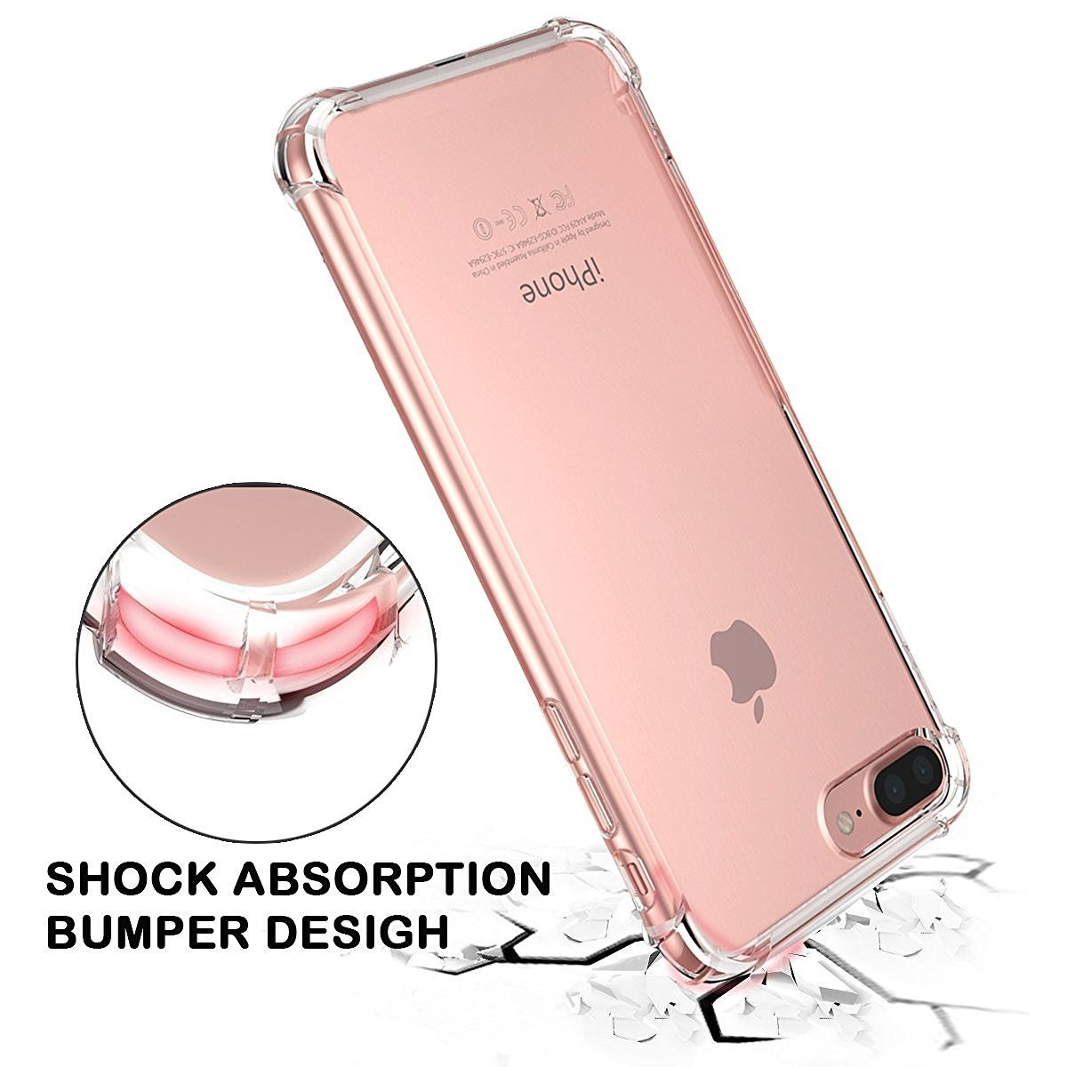 Shock Absorption Flexible TPU Bumper Anti-Scratch Slim Protective Clear Back Cover for iPhone 7 Plus