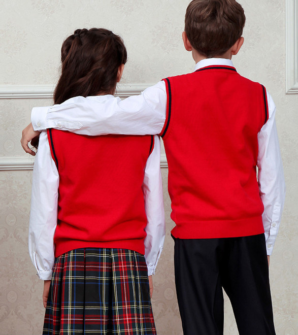 Red Beautiful V-Neck Cotton Vest School Uniform in Guangzhou