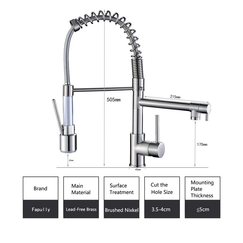 Flg Kitchen Faucet with Sprayer LED Design Kitchen Mixer Taps