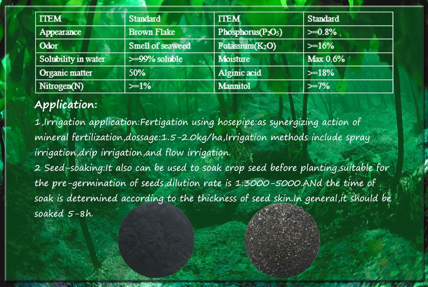 100% Water Soluble Organic Fertilizer Seaweed Extract