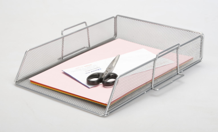 Silver Desk Accessories/ Metal Mesh Stationery File Tray/ Office Desk Accessories