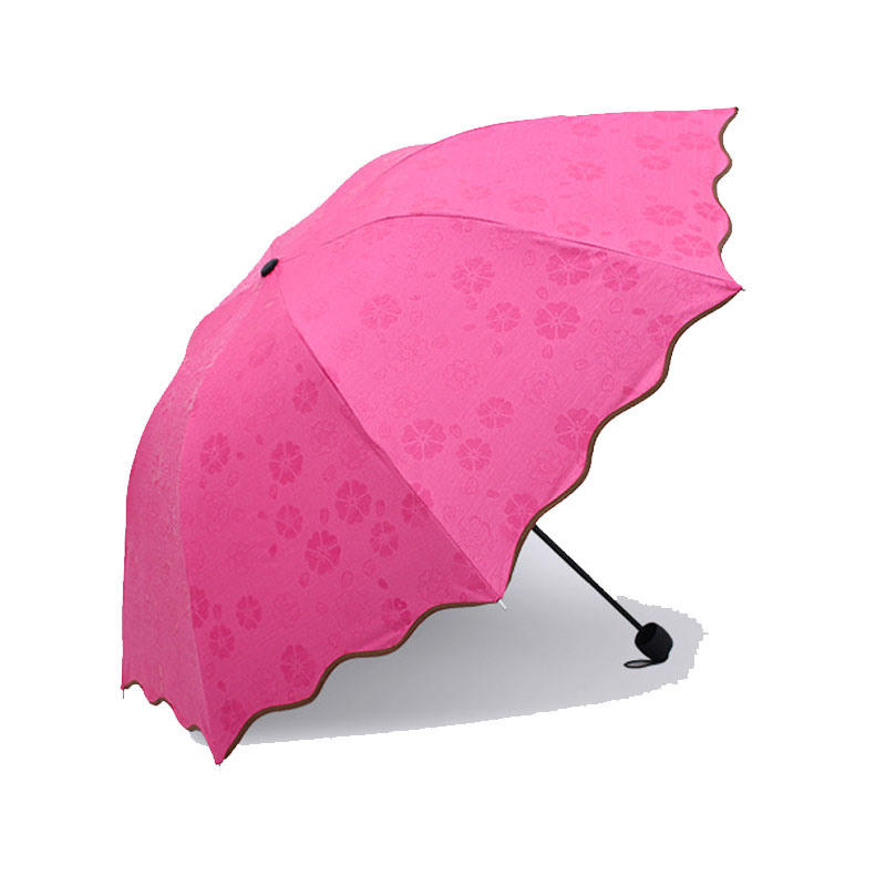Quality Fashion Solid Color Mini Pocket Sized Pouch Umbrella 3 Fold
