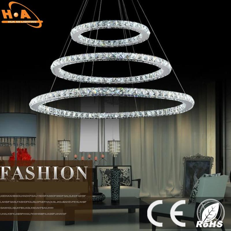 Three Rings Pendant LED Modern Crystal Chandelier