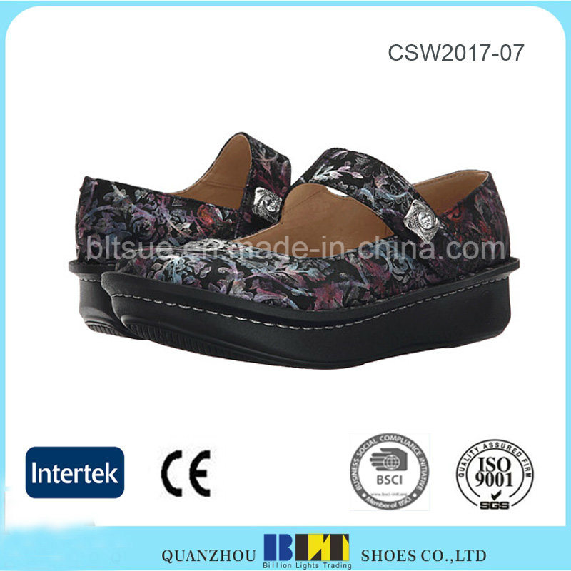 Hot Sale Waterproof Platform Clogs Leather Shoes for Women