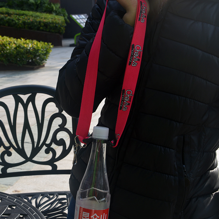 Custom Conference Polyester Bottle Holder Lanyards with Silk Screen Printed