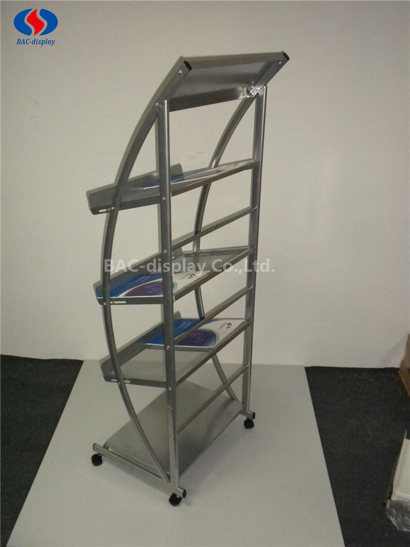 OEM Movable Metal Magazine Display Rack with 4 Wheels