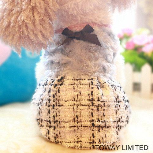 Woollen Royal Pet Clothes Grid Winter Bowtie Dog Dress