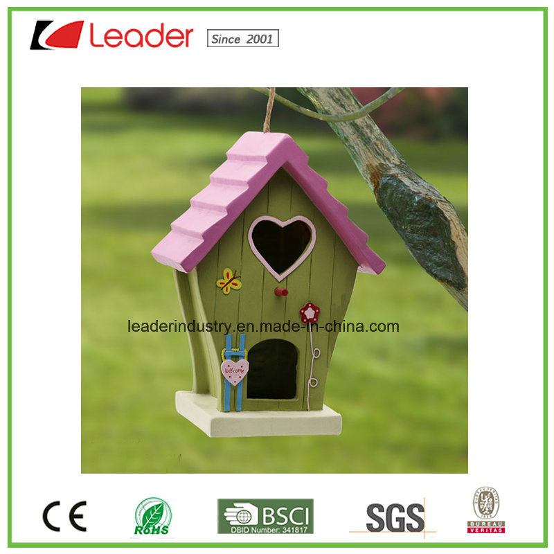 Handmade Polyresin Birdhouse for Patio and Garden Decoration